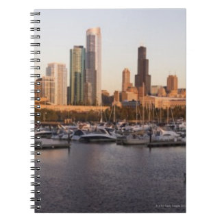 USA, Illinois, Chicago harbor and skyline Spiral Notebook