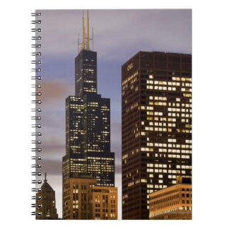 USA, Illinois, Chicago, Illuminated skyscrapers Notebook