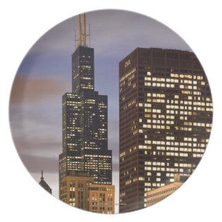 USA, Illinois, Chicago, Illuminated skyscrapers Plate