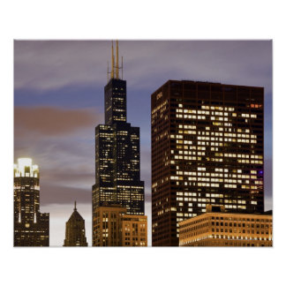 USA, Illinois, Chicago, Illuminated skyscrapers Poster