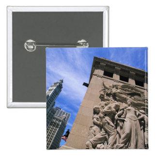USA, Illinois, Chicago, Michigan Avenue Bridge 15 Cm Square Badge
