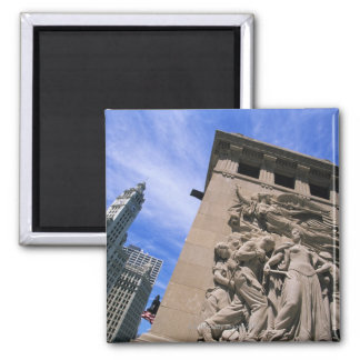 USA, Illinois, Chicago, Michigan Avenue Bridge Square Magnet