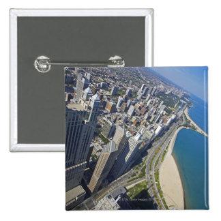USA, Illinois, Chicago shore seen from Hancock 15 Cm Square Badge