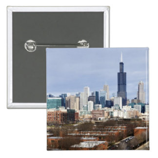 USA, Illinois, Chicago skyline 2 15 Cm Square Badge