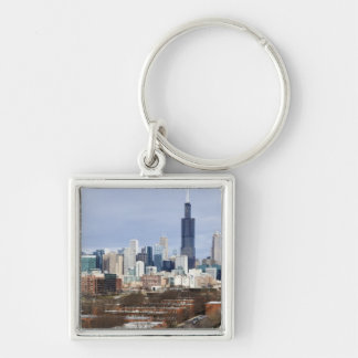USA, Illinois, Chicago skyline 2 Silver-Colored Square Key Ring