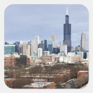 USA, Illinois, Chicago skyline 2 Square Sticker
