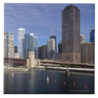 USA, Illinois, Chicago skyline across river Large Square Tile