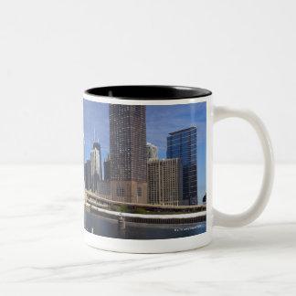 USA, Illinois, Chicago skyline across river Two-Tone Coffee Mug
