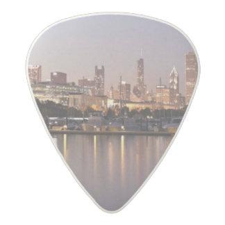 USA, Illinois, Chicago skyline at dusk Acetal Guitar Pick