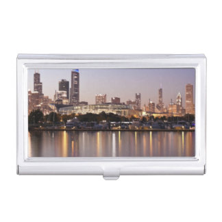 USA, Illinois, Chicago skyline at dusk Business Card Holder