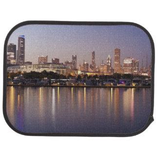 USA, Illinois, Chicago skyline at dusk Car Mat