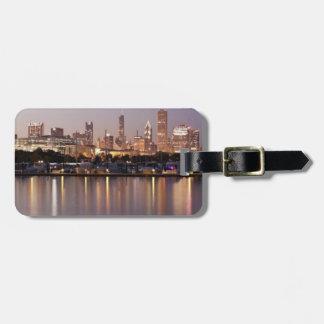 USA, Illinois, Chicago skyline at dusk Luggage Tag