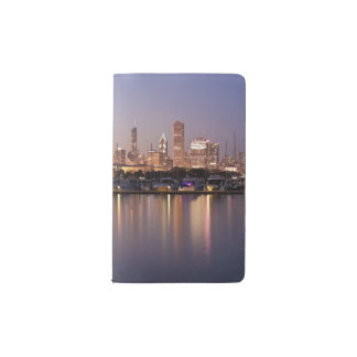USA, Illinois, Chicago skyline at dusk Pocket Moleskine Notebook