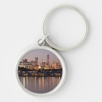 USA, Illinois, Chicago skyline at dusk Silver-Colored Round Key Ring