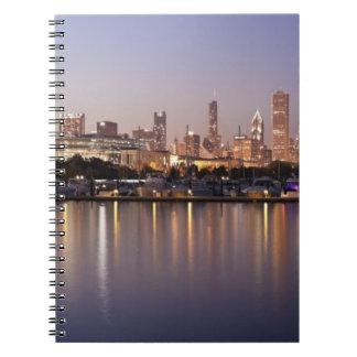 USA, Illinois, Chicago skyline at dusk Spiral Notebook