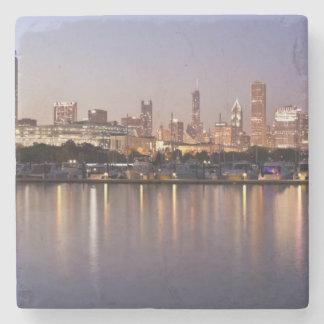 USA, Illinois, Chicago skyline at dusk Stone Coaster