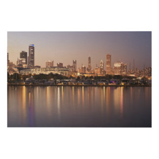 USA, Illinois, Chicago skyline at dusk Wood Wall Decor