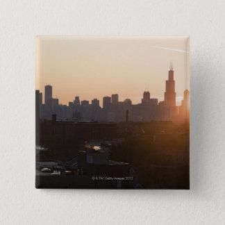 USA, Illinois, Chicago skyline at sunrise 15 Cm Square Badge