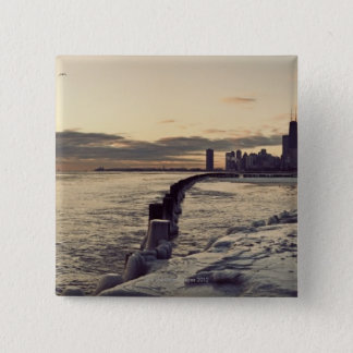 USA, Illinois, Chicago, Skyline at sunrise 15 Cm Square Badge