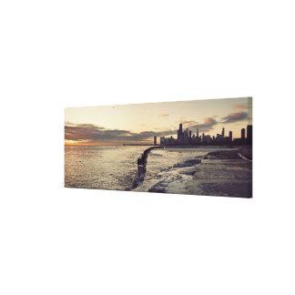 USA, Illinois, Chicago, Skyline at sunrise Canvas Print