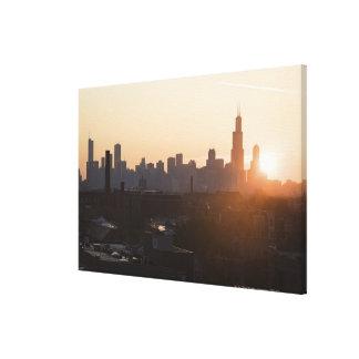 USA, Illinois, Chicago skyline at sunrise Stretched Canvas Print