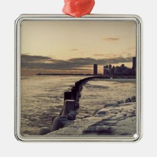 USA, Illinois, Chicago, Skyline at sunrise Christmas Ornament