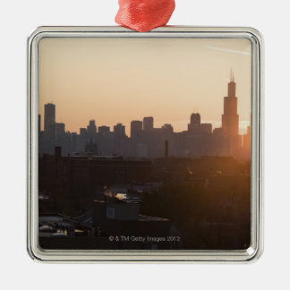USA, Illinois, Chicago skyline at sunrise Christmas Ornament