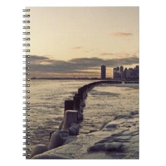USA, Illinois, Chicago, Skyline at sunrise Note Book