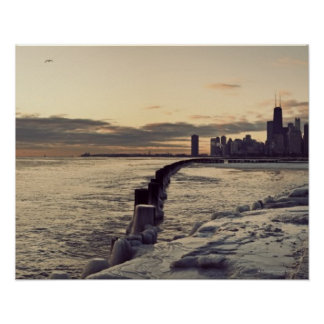 USA, Illinois, Chicago, Skyline at sunrise Poster