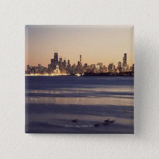 USA, Illinois, Chicago, Skyline at sunset 15 Cm Square Badge