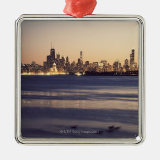 USA, Illinois, Chicago, Skyline at sunset Christmas Ornament