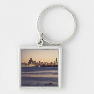 USA, Illinois, Chicago, Skyline at sunset Key Ring