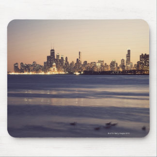 USA, Illinois, Chicago, Skyline at sunset Mouse Mat