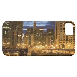 USA, Illinois, Chicago skyline illuminated at iPhone 5 Case