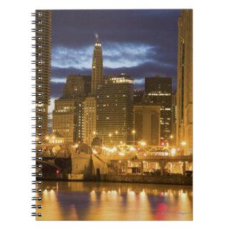 USA, Illinois, Chicago skyline illuminated at Notebook
