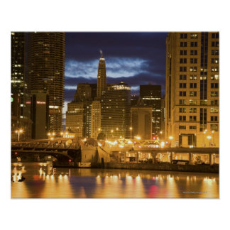USA, Illinois, Chicago skyline illuminated at Poster