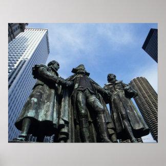 USA, Illinois, Chicago, skyscraper and statue Poster