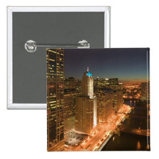 USA, Illinois, Chicago: The Loop: Buildings 15 Cm Square Badge