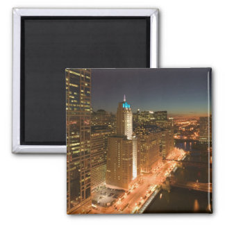 USA, Illinois, Chicago: The Loop: Buildings Square Magnet