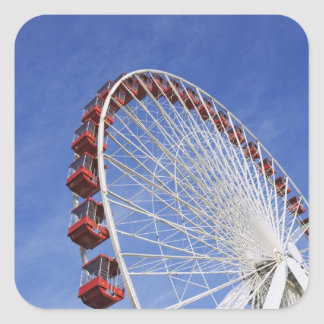 USA, Illinois, Chicago. View of Ferris wheel Square Sticker