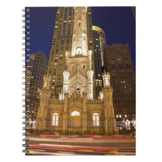 USA, Illinois, Chicago, Water Tower illuminated Notebooks