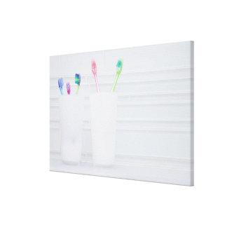 USA, Illinois, Metamora, Various toohbrushes in Canvas Print