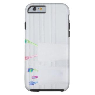 USA, Illinois, Metamora, Various toohbrushes in Tough iPhone 6 Case
