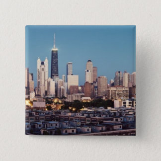 USA, Illinois, North Loop in Chicago panorama 15 Cm Square Badge