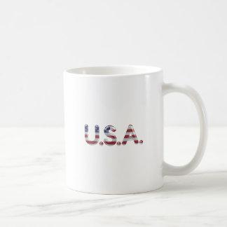 USA in chrome lettering Mugs
