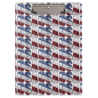 USA in Red White and Blue American Patriotic Flag Clipboard