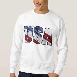 USA in Red White and Blue American Patriotic Flag Pullover Sweatshirts