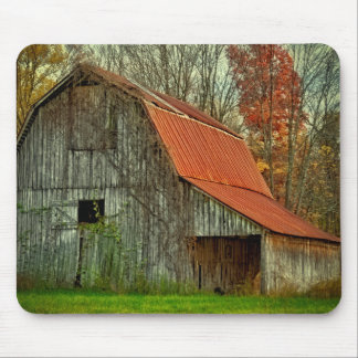 USA, Indiana. rural landscape, vine-covered barn Mouse Pad