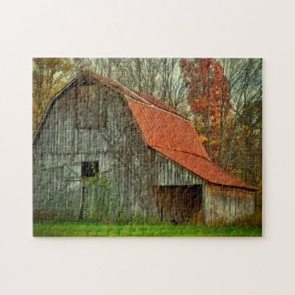 USA, Indiana. rural landscape, vine-covered barn Puzzle