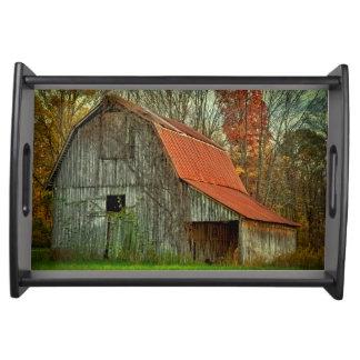 USA, Indiana. rural landscape, vine-covered barn Serving Tray
